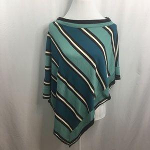 BCBGMaxAzria Knit Poncho Striped One Size